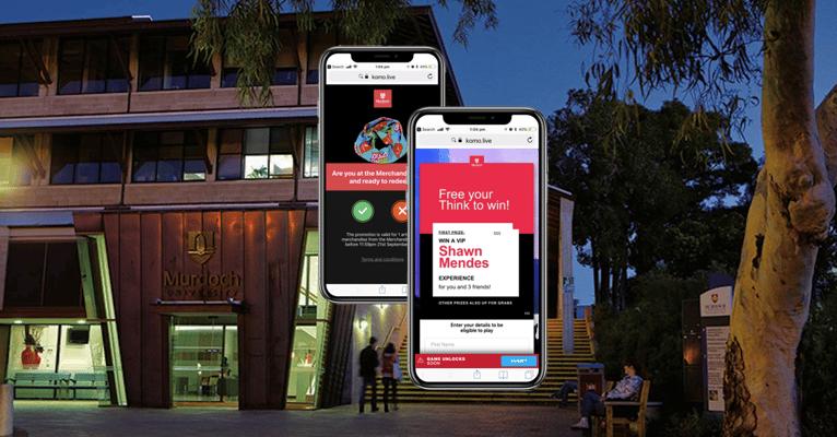 2 iphones displaying Murdoch University's Live Trivia hub against a background of Murdoch University